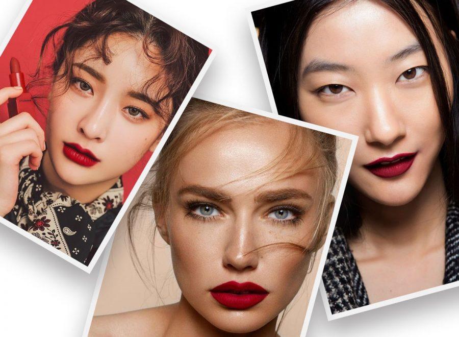 Makijaż na Sylwestra czerwona szminka