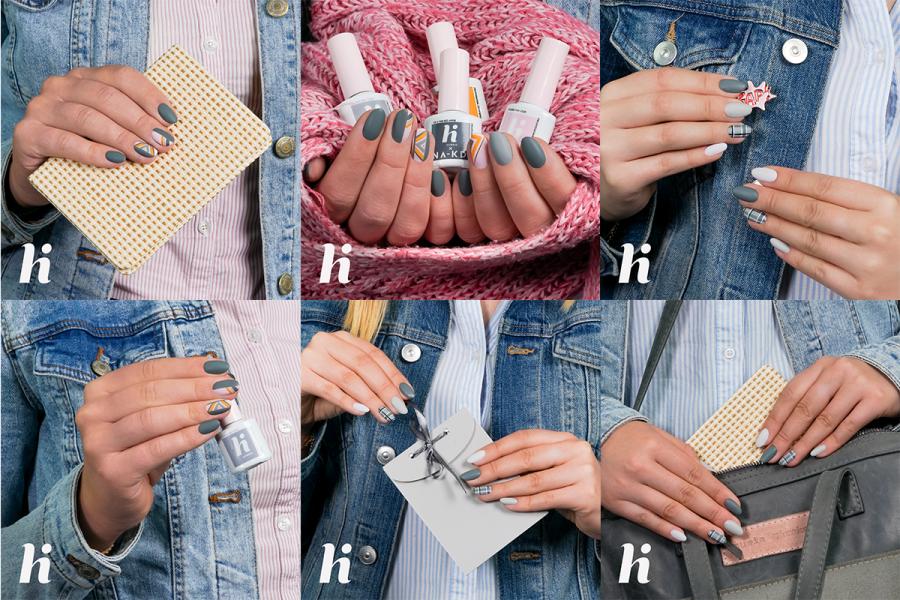 Hi hybrid przedstawia szary manicure hybrydowy do szkoły i pracy
